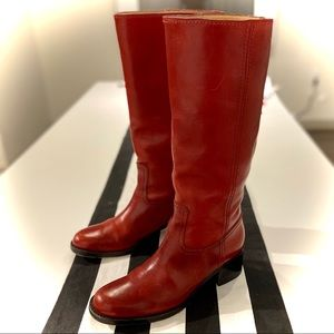 GUCCI Red Leather Knee High Riding Boots